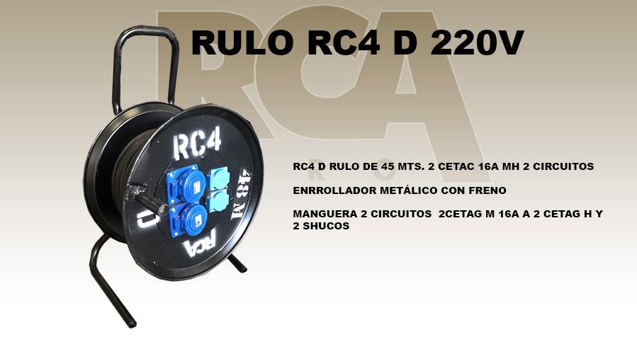 RC4 D RULO DE 45 MTS. 2 CETAC 16A MH 2 CIRCUITOS ENRROLLADOR METÁLICO CON FRENO MANGUERA 2 CIRCUITOS 2CETAG M 16A A 2 CETAG H Y 2 SHUCOS